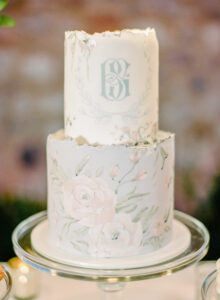 The bride and groom monogram on a gorgeous cake