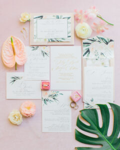 Tropical wedding invitation suite with pocket envelope and address card. Digitally printed in gold ink.