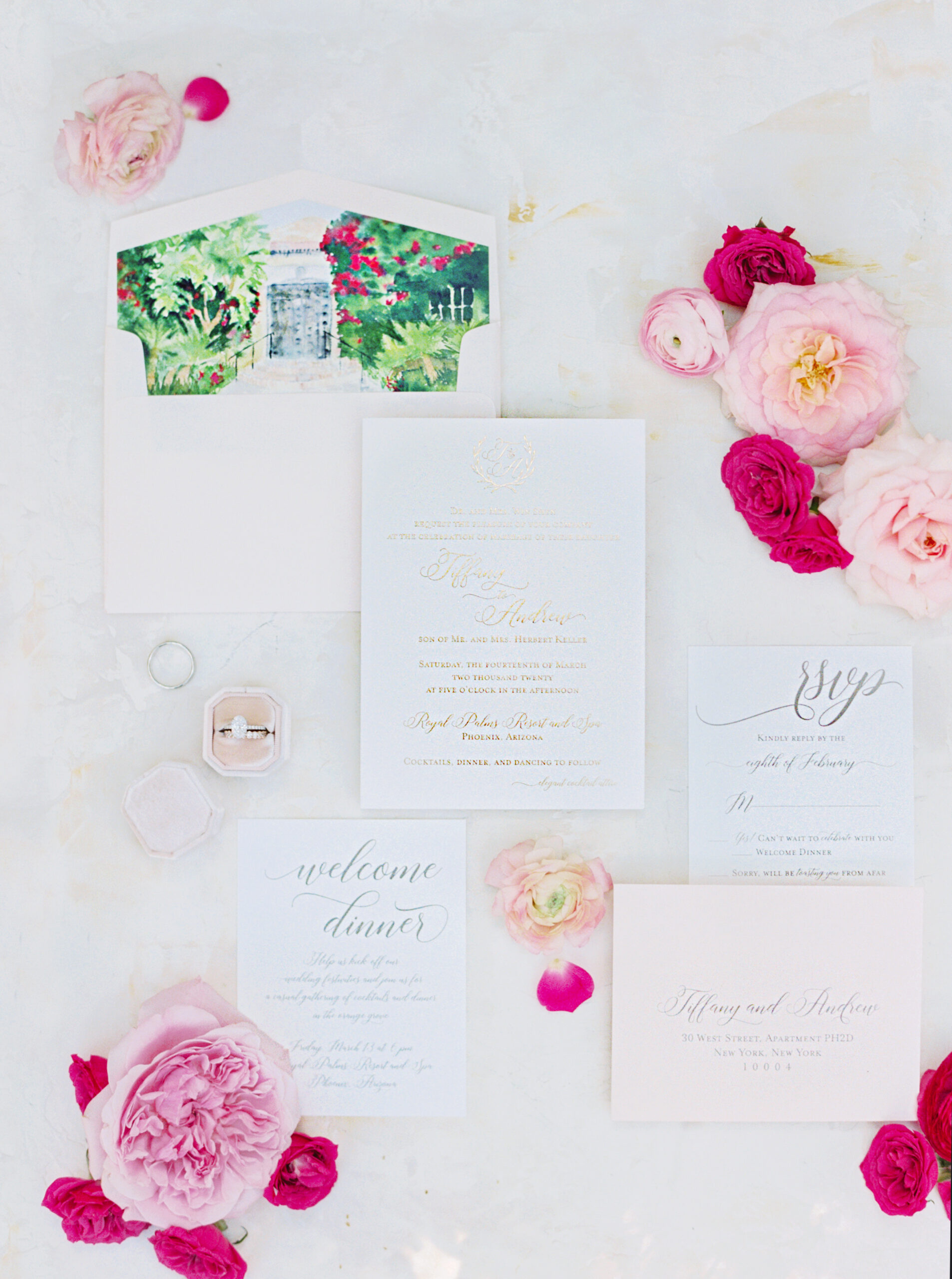Gold foil invitation with custom watercolor artwork of Royal Palms